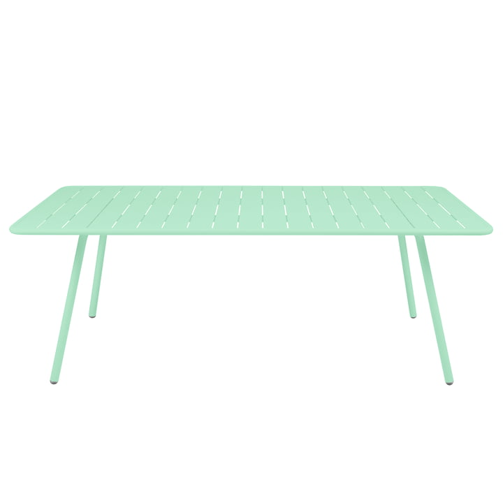 The Luxembourg Fermob table, rectangular, 100 x 207 cm, opal green