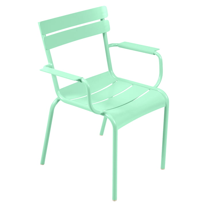The Luxembourg Armchair by Fermob, steel opal green