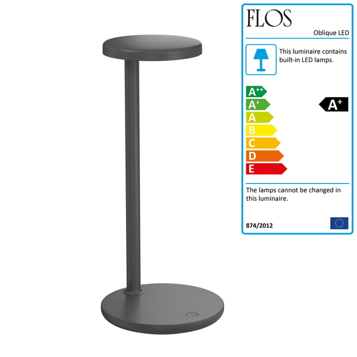The Oblique LED table lamp by Flos , H 35 cm, anthracite