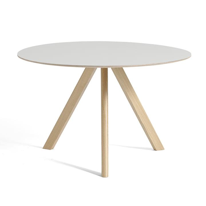 Copenhague CPH20 table Ø 120 cm by Hay in oak lacquered / linoleum off-white