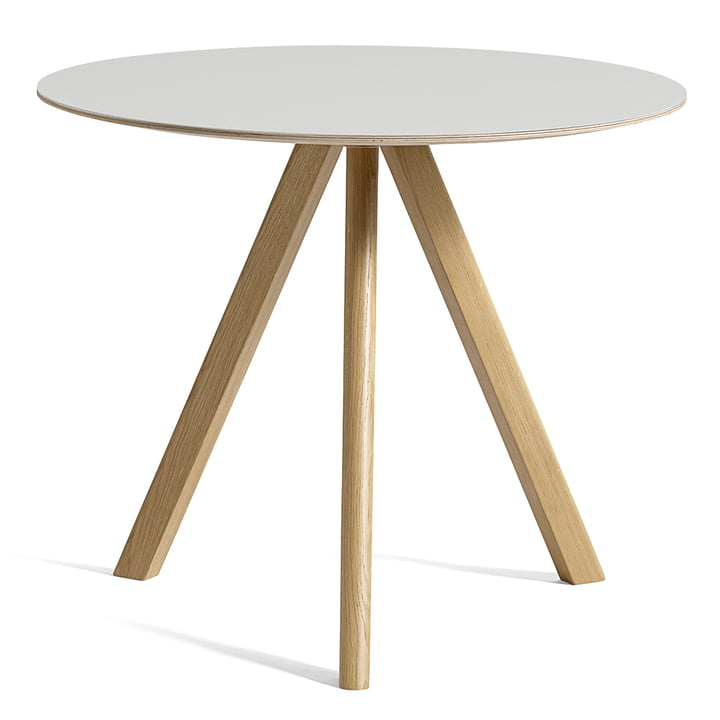 Copenhague CPH20 table Ø 90 cm from Hay in oak lacquered / linoleum off-white