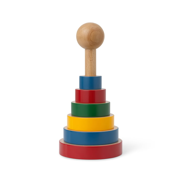 The pyramid tower wooden toy from Kay Bojesen , H 22,5 cm, coloured