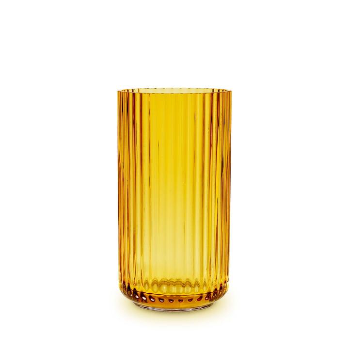 The glass vase from Lyngby Porcelæn , H 15,5 cm, amber