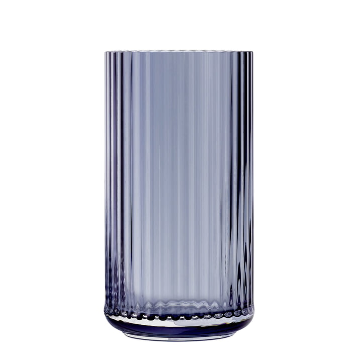 The glass vase from Lyngby Porcelæn , H 31 cm, midnight blue