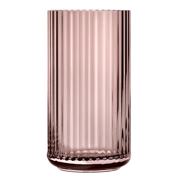 The glass vase from Lyngby Porcelæn , H 38 cm, burgundy