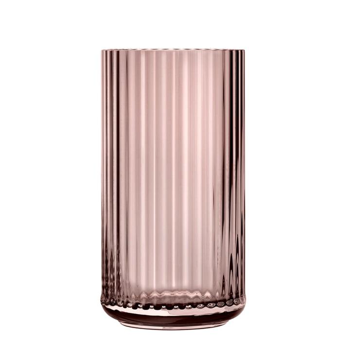 The glass vase from Lyngby Porcelæn , H 31 cm, burgundy