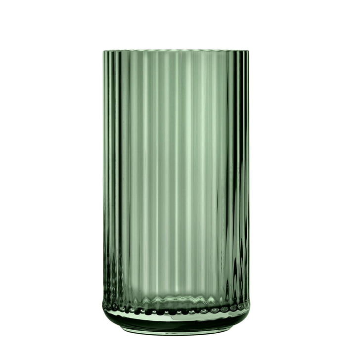 The glass vase from Lyngby Porcelæn , H 31 cm, green