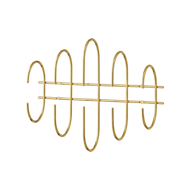 The Moveo wall coat rack from AYTM , L 51 cm, gold