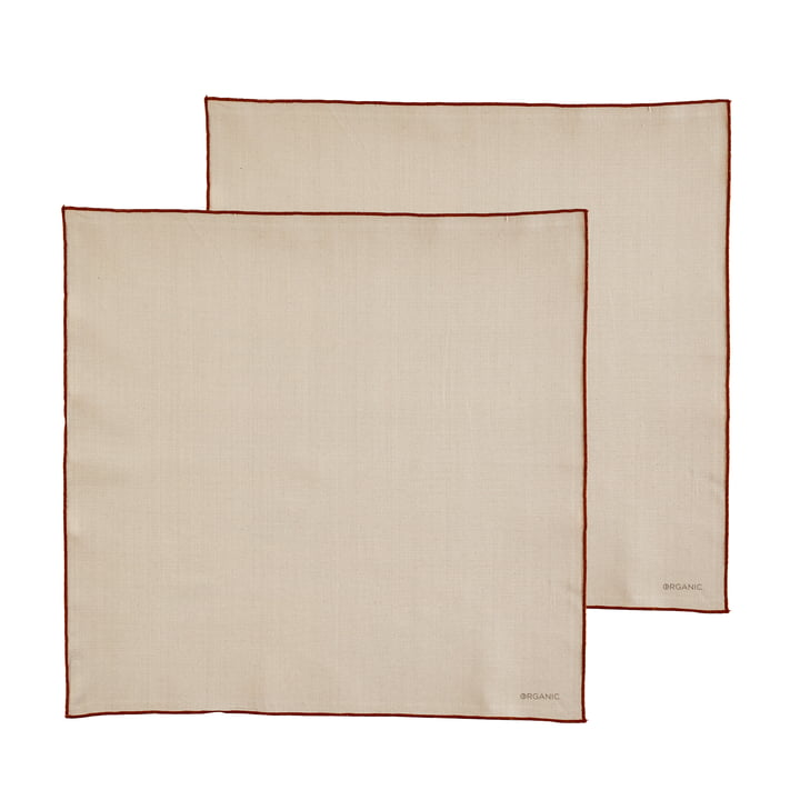The Organic cloth napkins from Södahl , 50 x 50 cm, crème / amber (set of 2)
