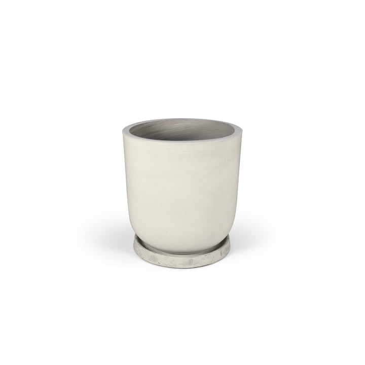 The flower pot with saucer from Connox Collection , size: S, Ø 18 cm x 20 cm / light grey