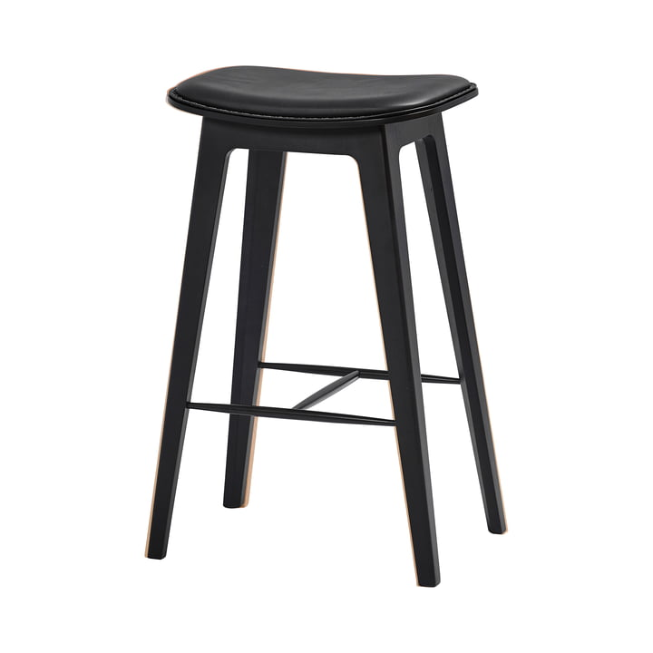 The Nordic bar stool H 73 cm from SACK it, beech black / leather ultra black