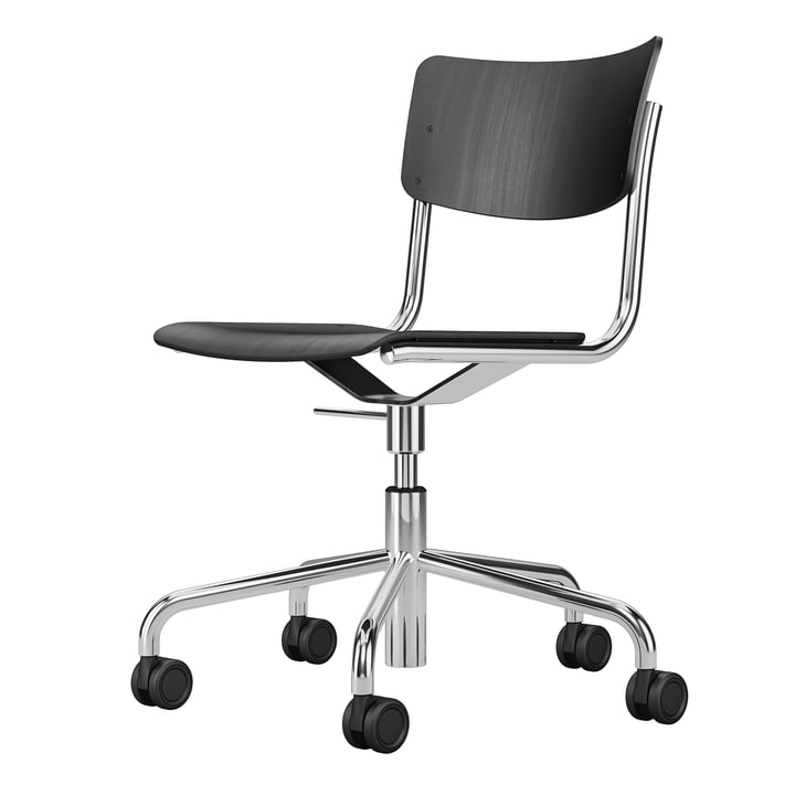The S 43 DR office chair five star frame with castors from Thonet , chrome / beech black stained