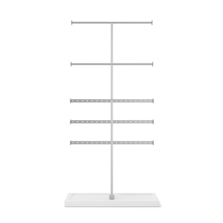 Trigem 5-tier jewellery stand from Umbra in white / metallic nickel