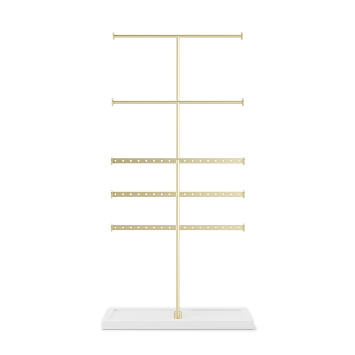 Trigem 5-tier jewellery stand from Umbra white / brass