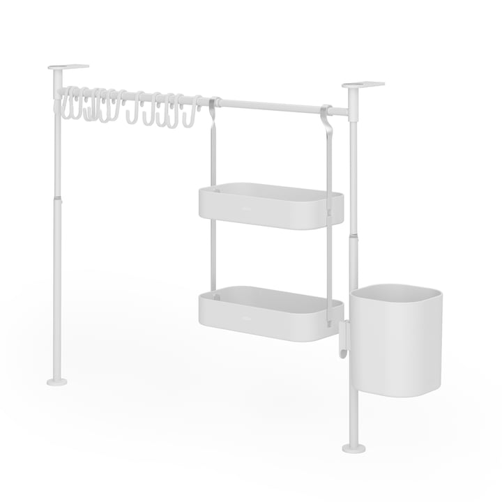 Anywhere Kitchen organizer with 12 hooks, 2 compartments & 1 container from Umbra in white
