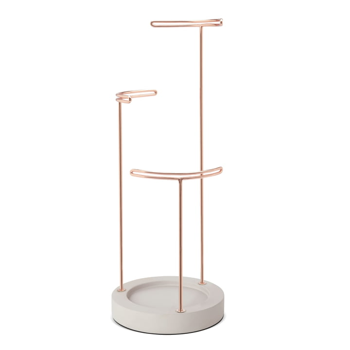 Umbra - Tesora Jewellery stand, concrete / copper