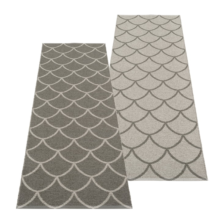 The Kotte reversible rug from Pappelina , 70 x 225 cm, charcoal / warm grey