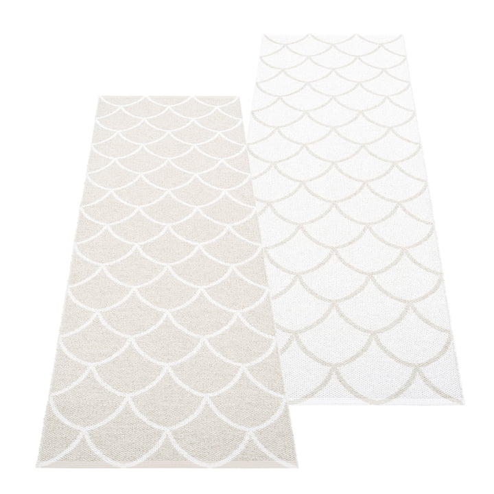 The Kotte reversible rug from Pappelina , 70 x 225 cm, fossil grey / white