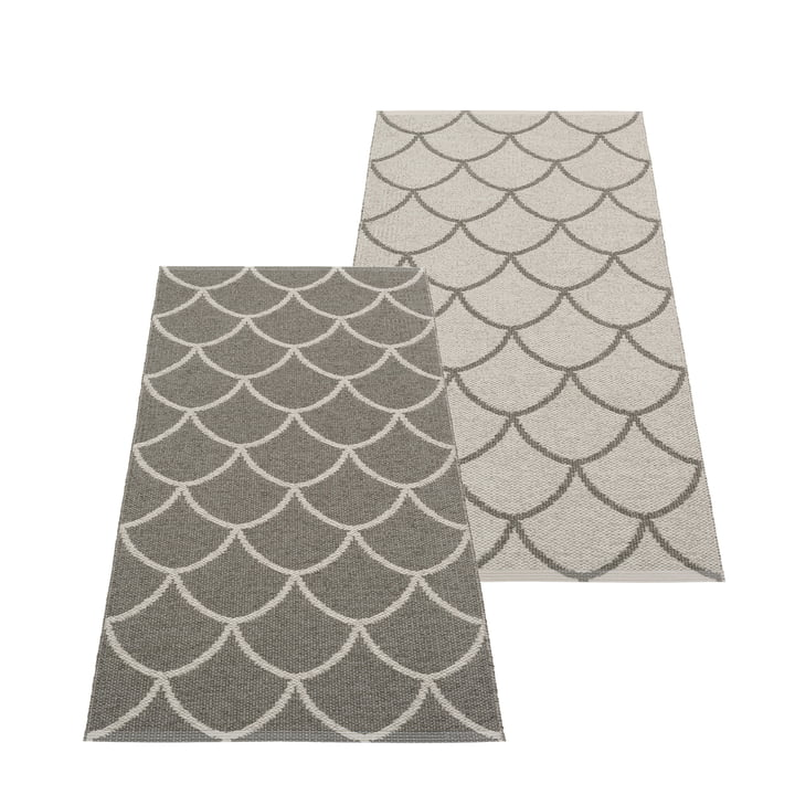 The Kotte reversible rug from Pappelina , 70 x 150 cm, charcoal / warm grey