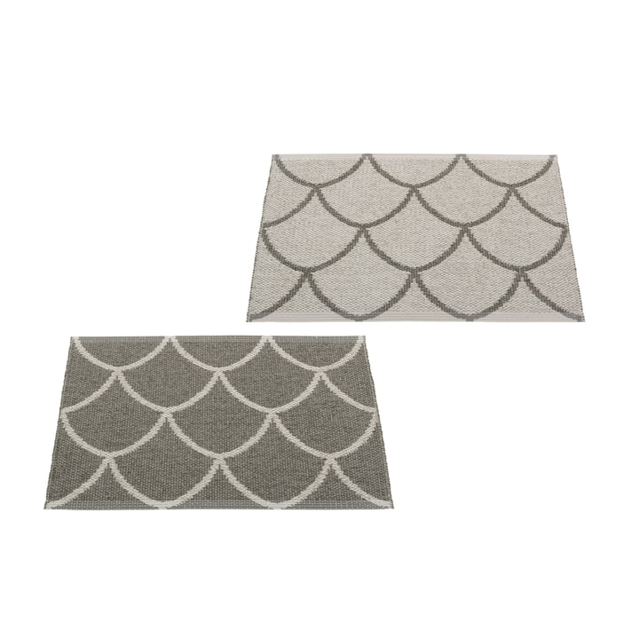 The Kotte reversible rug from Pappelina , 70 x 50 cm, charcoal / warm grey