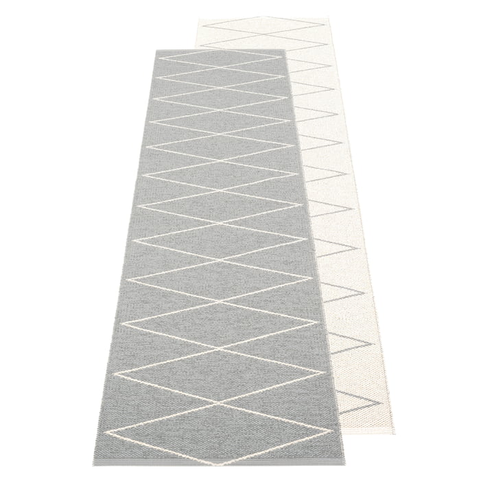 The Max reversible rug from Pappelina , 70 x 240 cm, grey / vanilla