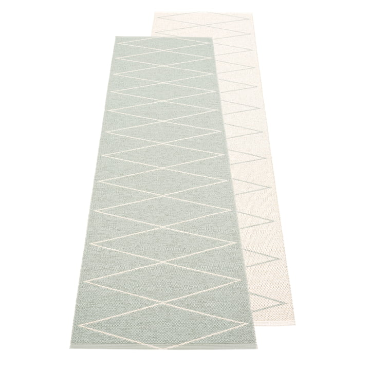 The Max reversible rug from Pappelina , 70 x 240 cm, sage / vanilla
