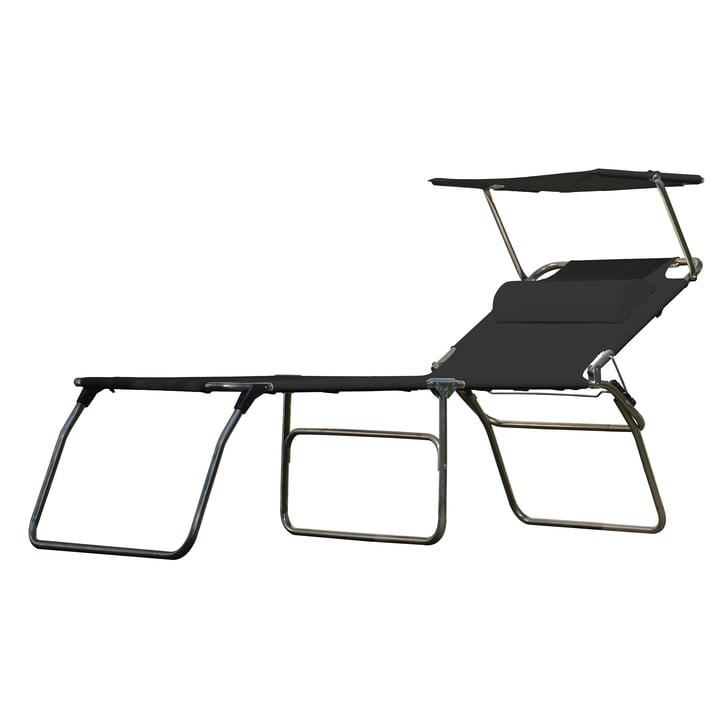 The Amigo Big 50+ Sun three-legged lounger from Fiam with sun canopy and bolster, black