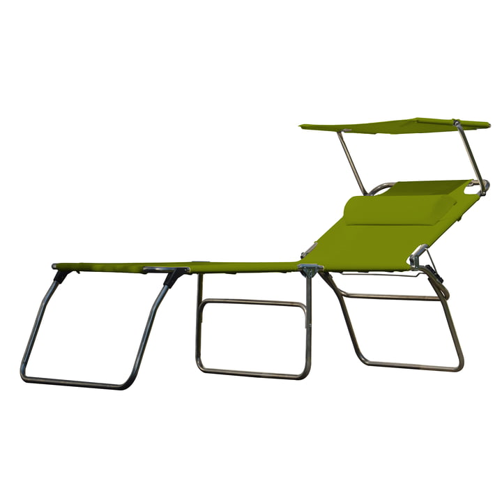 The Amigo Big 50+ Sun tripod lounger from Fiam with sun canopy and bolster, pistachio