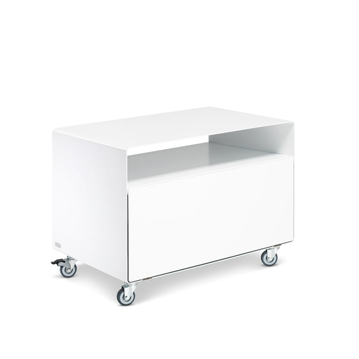 R 107N Trolley with folding door by Müller Möbelfabrikation in signal white