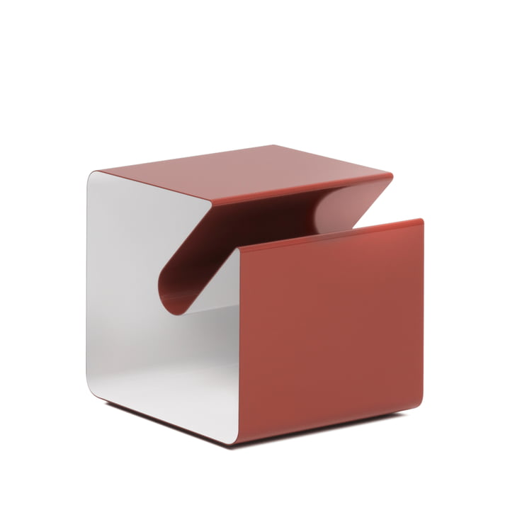 V44 Side table with newspaper rack from Müller Möbelfabrikation in oxide red / signal white
