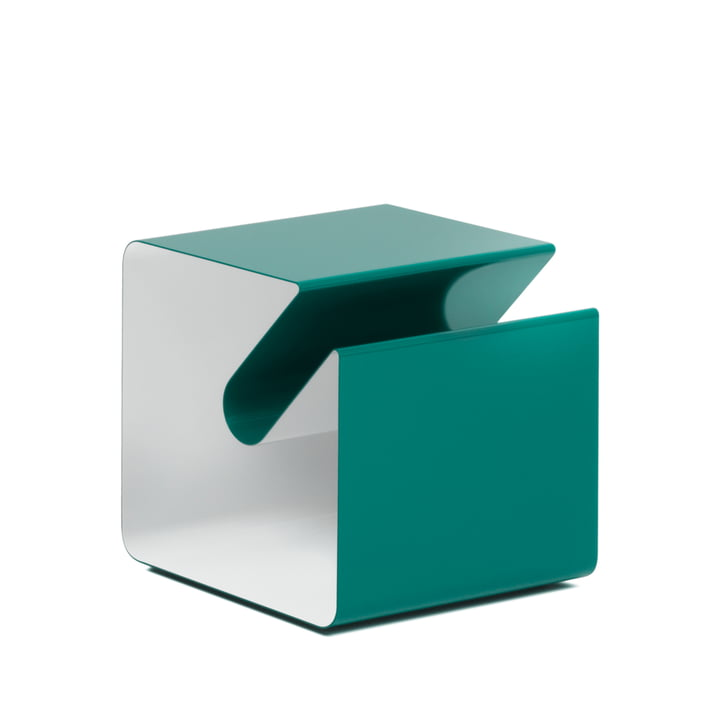 V44 Side table with newspaper rack from Müller Möbelfabrikation in mint turquoise / signal white