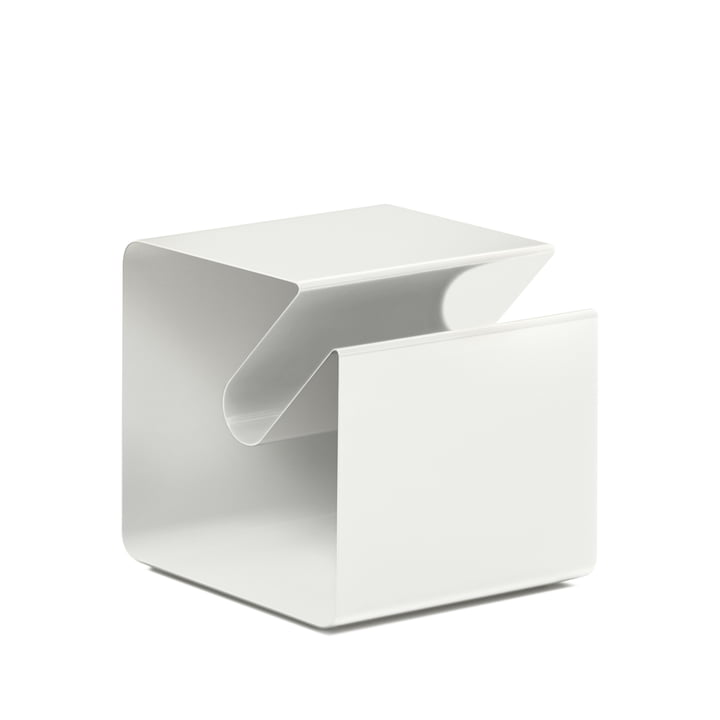 V44 Side table with newspaper rack from Müller Möbelfabrikation in signal white