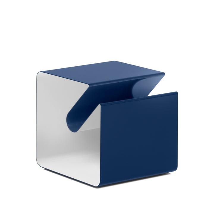 Müller Möbelfabrikation - V44 Side table with newspaper rack, cobalt blue / signal white