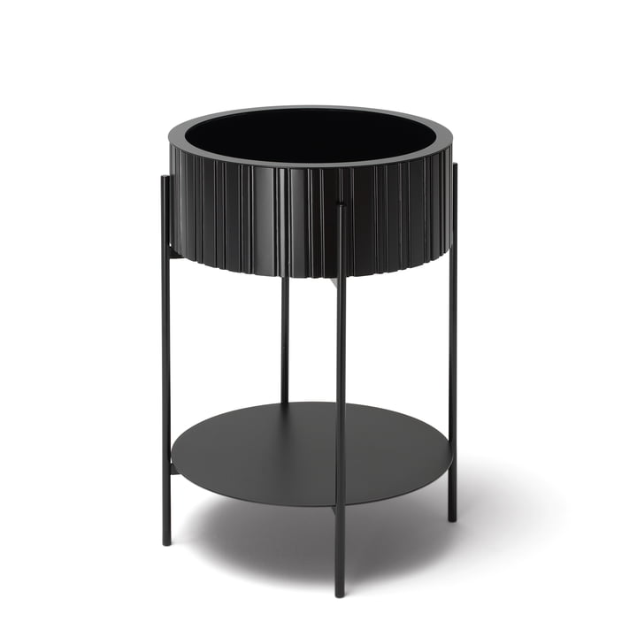 TWIST Box side table with storage by Müller Möbelfabrikation in deep black
