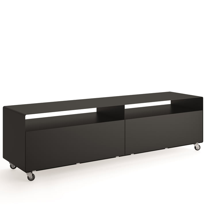 R 110 Sideboard with 2 folding doors on castors from Müller Möbelfabrikation in deep black