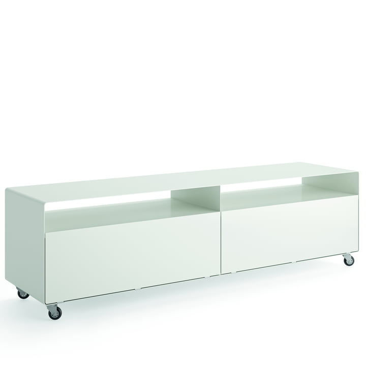 R 110 Sideboard with 2 folding doors on castors from Müller Möbelfabrikation in signal white