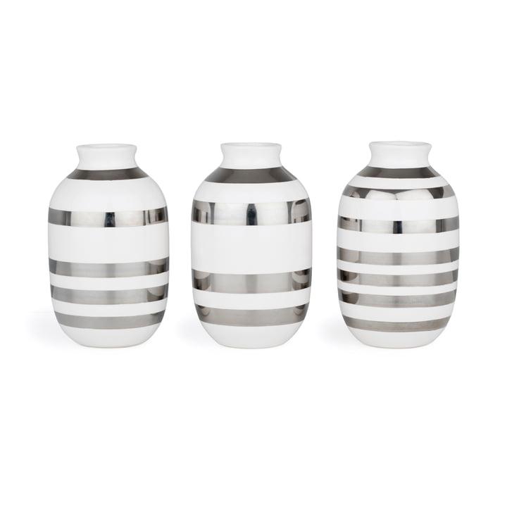 Omaggio Vase miniature H 8 cm from Kähler Design in silver (set of 3)