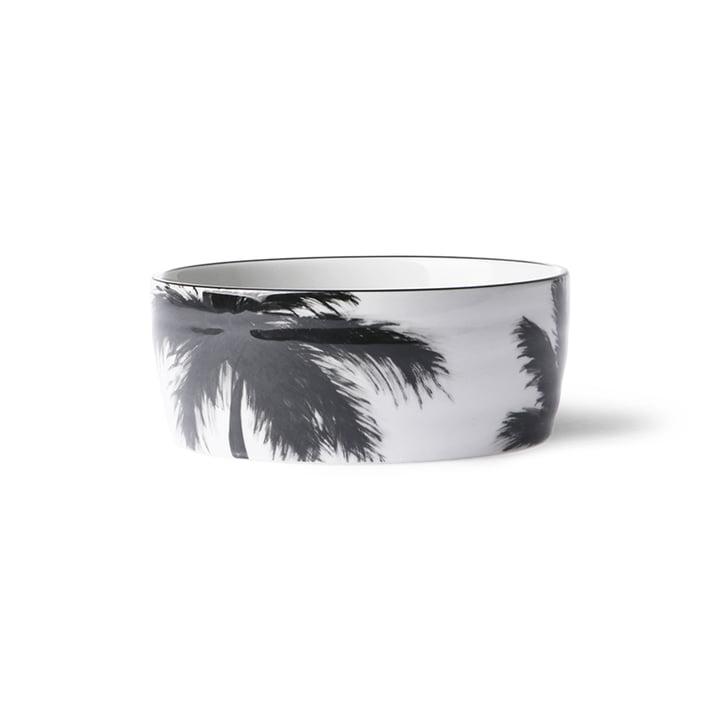 The Bold & Basic Ceramic bowl from HKliving , Ø 14,5 cm, white / palm motif