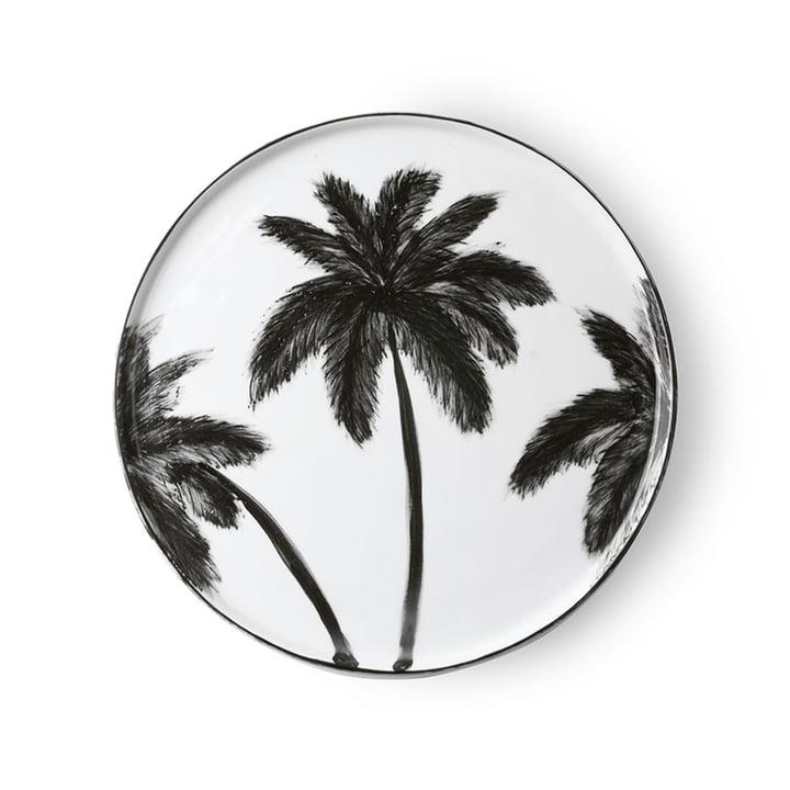 The Bold & Basic Ceramic plate from HKliving , Ø 27 cm, white / palm motif