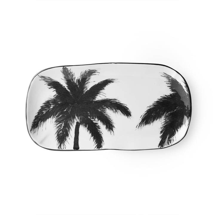 The Bold & Basic Ceramic serving plate from HKliving , 25 x 13,5 cm, white / palm motif
