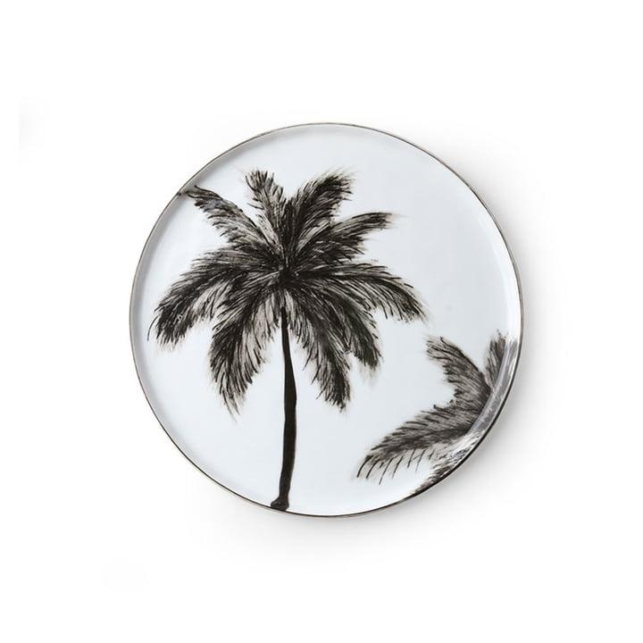 The Bold & Basic Ceramic plate from HKliving , Ø 22 cm, white / palm motif