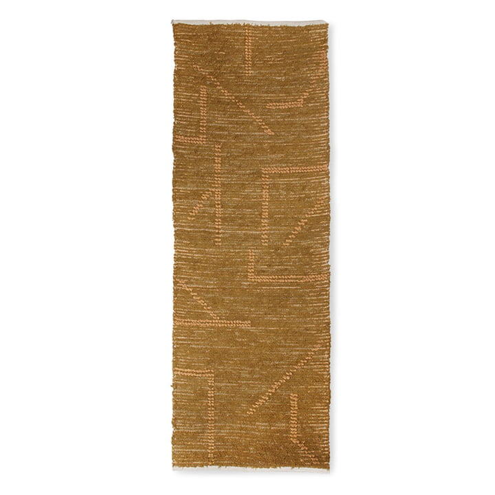 The Handwoven Cotton Rug from HKliving , 70 x 200 cm, mustard / honey