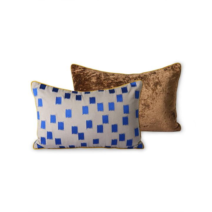 The DORIS Vintage cushion from HKliving , 25 x 40 cm, blue brush