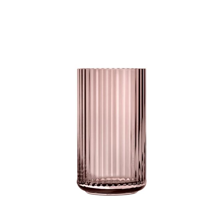 Glass vase H 12,5 cm from Lyngby Porcelæn in burgundy