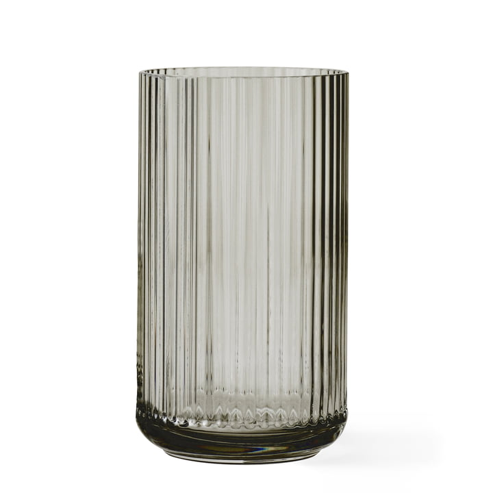 Glass vase H 31 cm from Lyngby Porcelæn in smoke