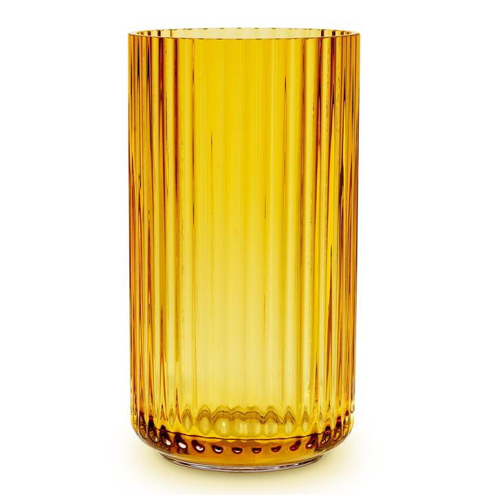 Glass vase H 38 cm from Lyngby Porcelæn in amber