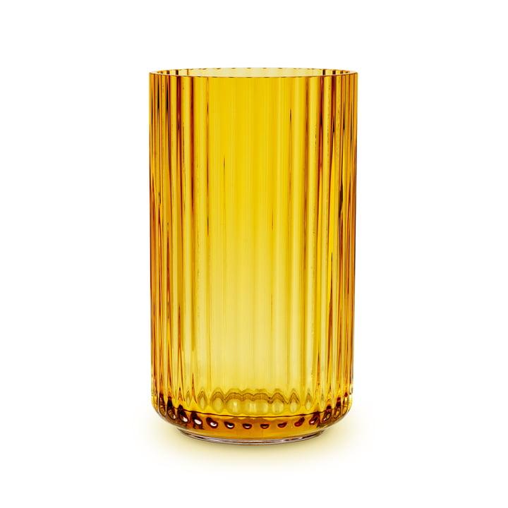 Glass vase H 25 cm from Lyngby Porcelæn in amber