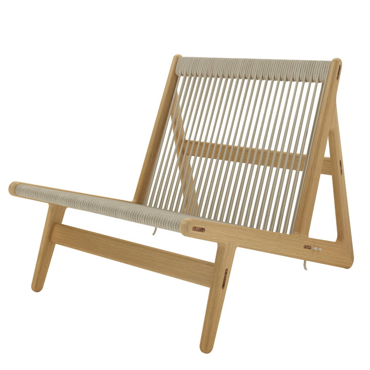 MR01 Lounge Chair from Gubi in oak / natural wickerwork