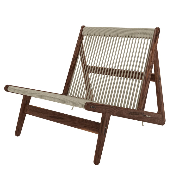 MR01 Lounge Chair from Gubi in walnut / natural wickerwork