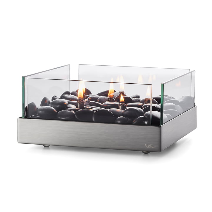 Fireplace Table fireplace 23 x 23 cm from Philippi in silver / black